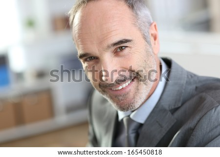 Portrait of mature businessman in office - stock photo