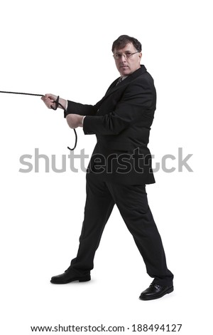 Portrait Of Mature Businessman Pulling Rope Over White Background