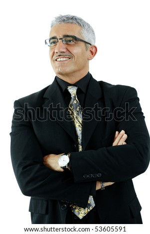 Portrait of mature businessman standing in confident pose, arms crossed. Isolated on white.