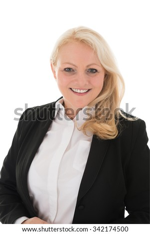 Portrait of mature businesswoman standing against white background - stock photo