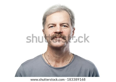 portrait of mature caucasian man isolated on white background - stock photo