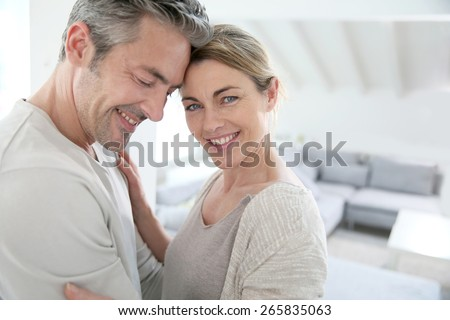 Portrait of mature couple showing love and complicity