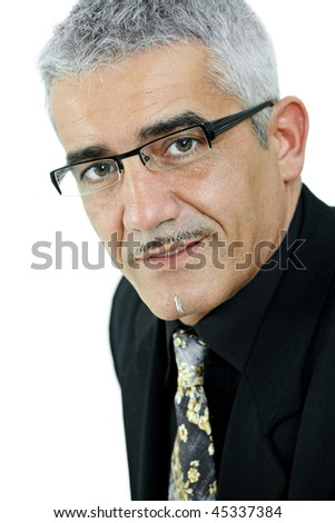 Portrait of mature gray haired creative looking businessman, isolated on white background. - stock photo