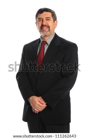 Portrait of mature Hispanic businessman smiling isolated over white background