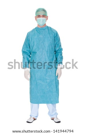 Portrait Of Mature Male Surgeon Isolated Over White Background - stock photo