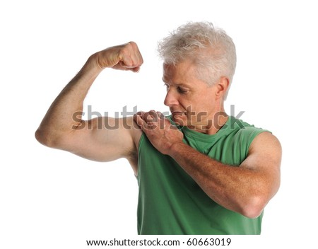 Portrait of mature man flexing biceps isolated over white background