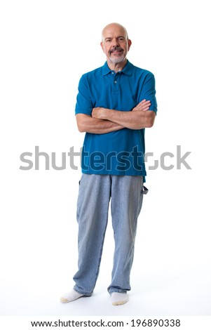 Portrait of mature man in blue polo shirt fold his arms isolated on white