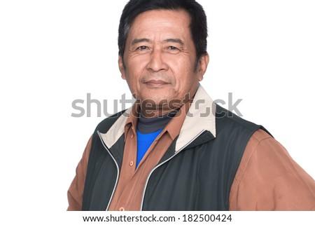 Portrait of mature man smiling - stock photo