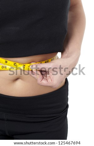Portrait of measuring the waist line of a woman against white background - stock photo