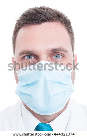 Portrait of medic or doctor with surgical mask on isolated on white background