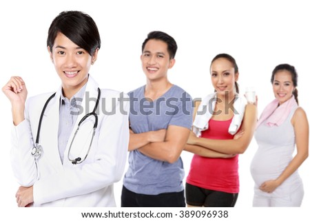 portrait of Medical doctor and casual people doing exercise and pregnant woman at the background