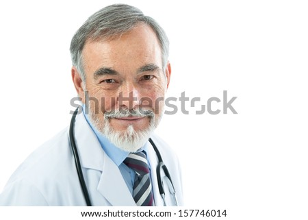 Portrait of medical doctor with stethoscope. Isolated over white background - stock photo