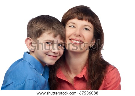 Portrait of merry mother and son