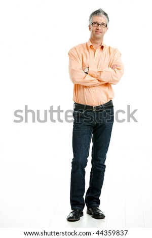 Portrait of mid-adult man posing with arms crossed, isolated on white background. - stock photo