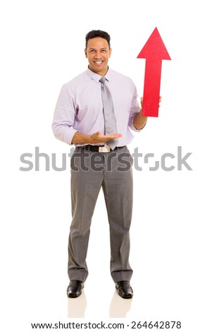 portrait of mid age man showing arrow symbol isolated on white - stock photo