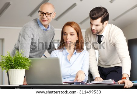 Portrait of middle age businesswoman sitting in front of computer while presenting financial plan to businessmen. Group of business people working together at office.  - stock photo