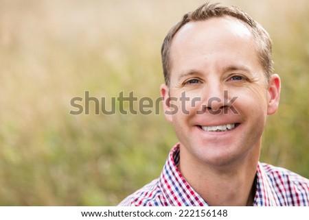 Portrait of middle age caucasian male in Autumn. - stock photo