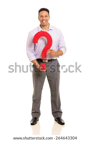 portrait of middle aged man holding question mark isolated on white - stock photo