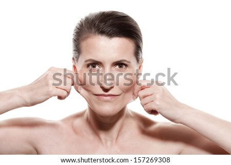 Portrait of middle-aged woman - stock photo