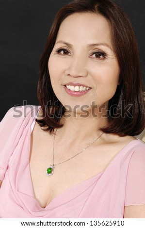 Portrait of middle aged woman close up. - stock photo