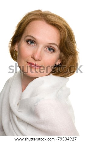 Portrait of middle aged woman close up. Isolated on white. - stock photo