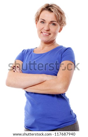 Portrait of middle aged woman smiling isolated on a white - stock photo