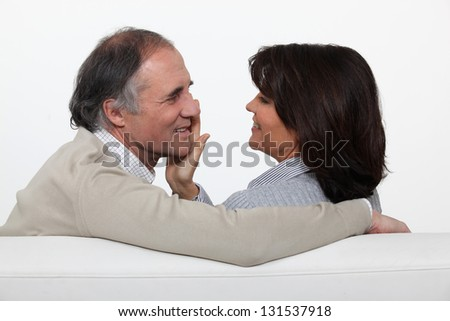 portrait of middleaged couple in love - stock photo