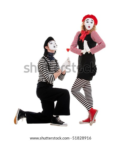 portrait of mimes. couple in love. isolated on white - stock photo