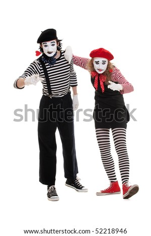 portrait of mimes in striped costumes. isolated on white background - stock photo