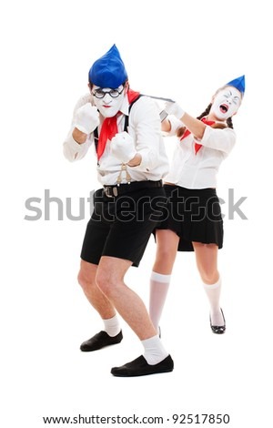 portrait of mimes. man protecting his woman. isolated on white background - stock photo
