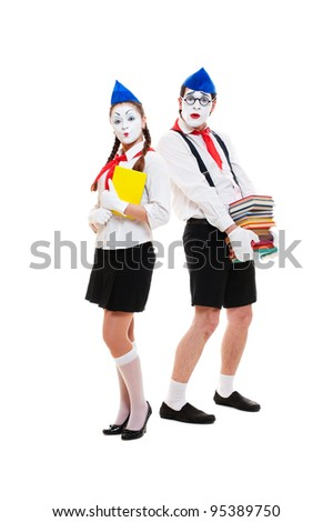 portrait of mimes with books. isolated on white background - stock photo