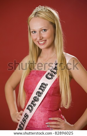 Portrait of miss dream girl over red background