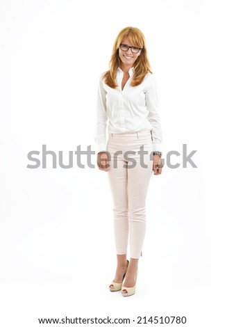 Portrait of modern business woman standing against white background. - stock photo