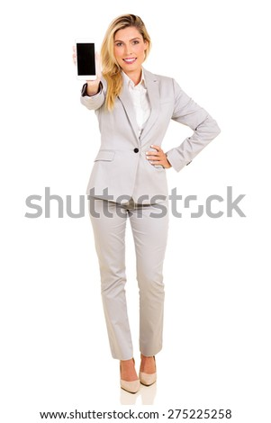 portrait of modern businesswoman showing smart phone isolated on white background - stock photo