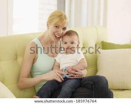 Portrait of Mother and Baby Boy - stock photo