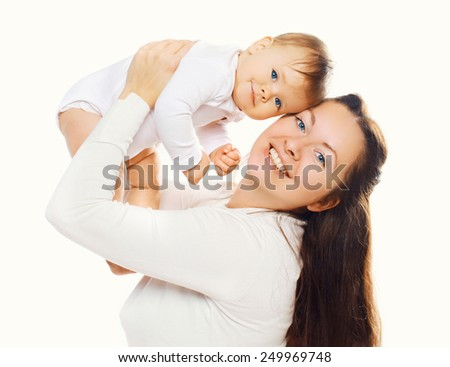 Portrait of mother with her cute baby on a white background - stock photo