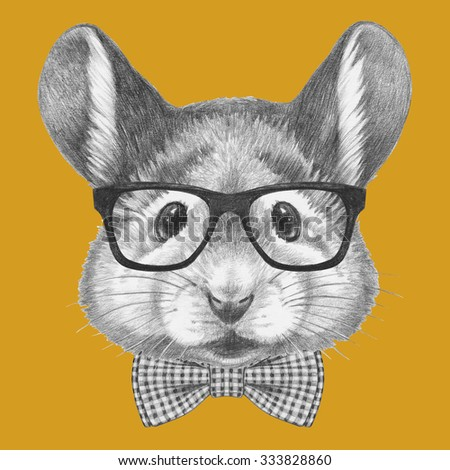 Portrait of Mouse with glasses and bow tie. Hand drawn illustration. - stock photo