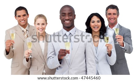Portrait of multi-ethnic business team drinking champagne against a white background - stock photo