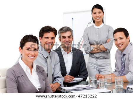 Portrait of multi-ethnic business team during a presentation in a company