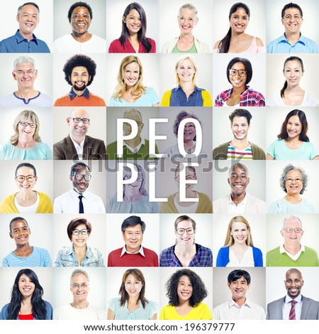 Portrait of Multiethnic Diverse Colorful People