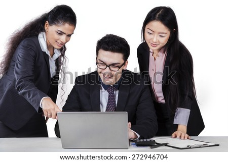 Portrait of multiracial business people in business meeting using a laptop computer, isolated on white background