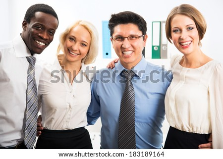 Portrait of multiracial business team in office