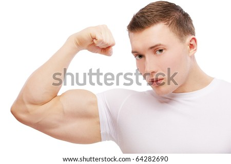 portrait of muscular athlete man showing biceps on white - stock photo