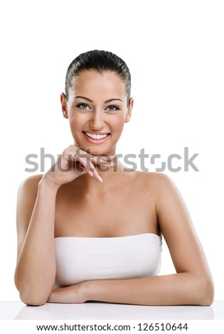 Portrait of natural, healthy, beauty woman with smile - stock photo