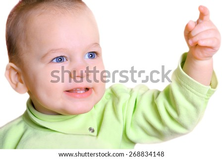 portrait of nice baby with outstretched hand isolated - stock photo