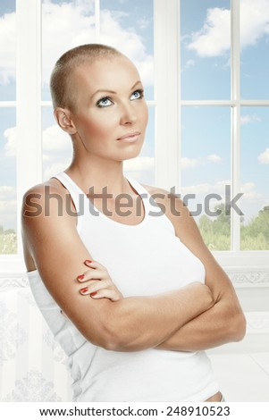 Portrait of nice young girl on color back
