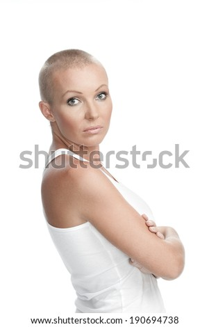Portrait of nice young girl on white back