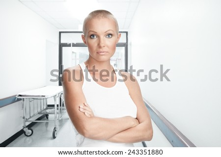 Portrait of nice young woman in hospital environment