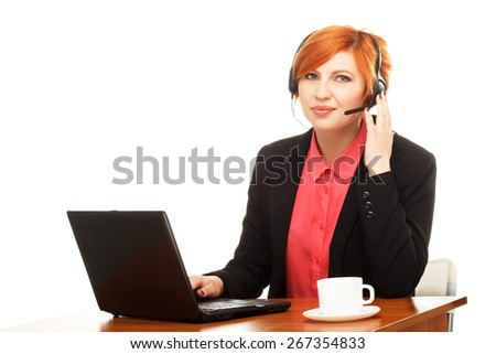 Portrait of office worker at a desk with  computer isolated on white background