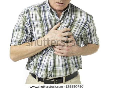 Portrait of old man suffering chest pain on white background - stock photo